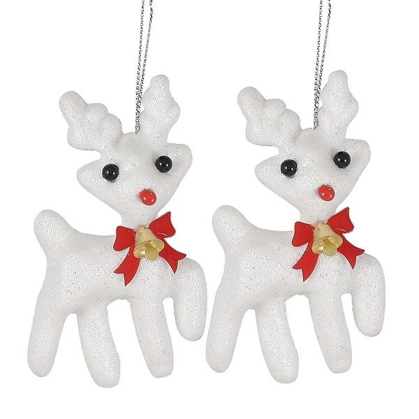Unique Bargains Gold Tone Bell Decoration Reindeer Pendant Christmas Hanger White