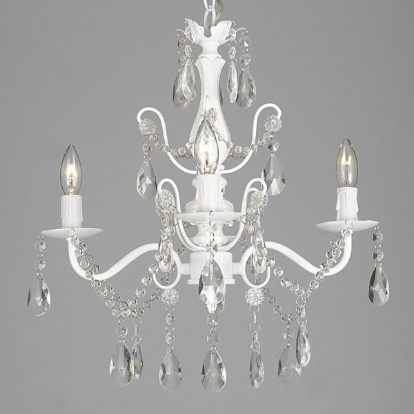 """Wrought Iron and Crystal 4 Light White Chandelier H 14"""" X W 15"""" Pendant Fixture Lighting"""
