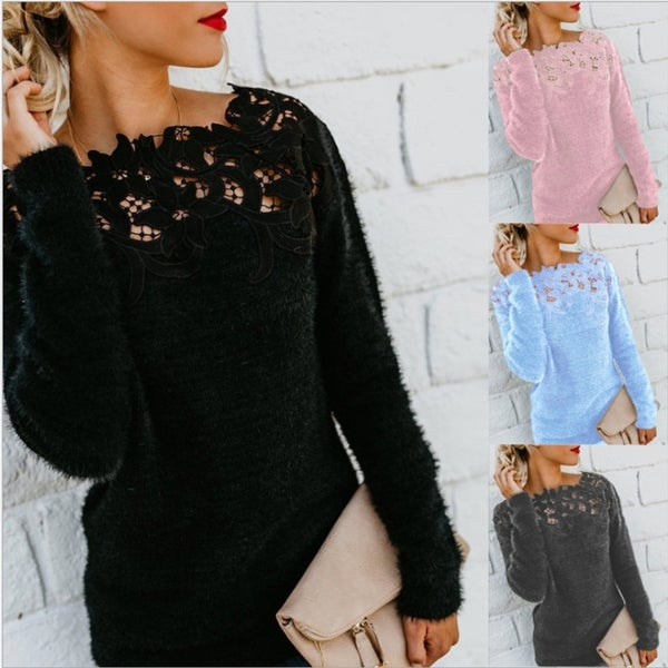 Women Loose Knitted Pullover Jumper Sweater O Neck Long Sleeve Knitwear Top Lace Floral Collar Winter. Opens flyout.