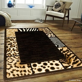 "Black High Density Double Shot Drop-Stitch Carving Exotic Animal Skin and Nature. Safari Woven Area Rug (7' 10"" x 10' 2"")"