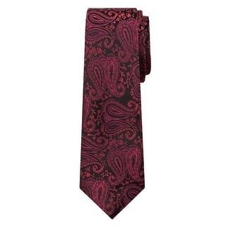 Marquis Men's Burgundy Paisley 3 1/4 Tie & Hanky Set TH100-002 - regular