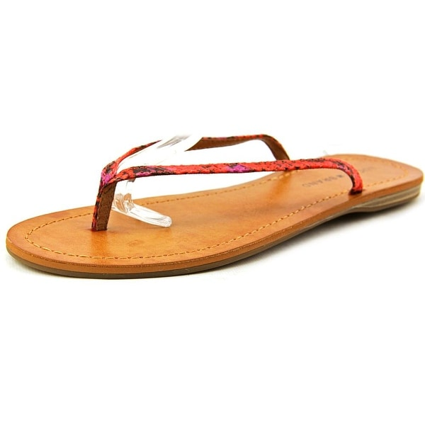 Lucky Brand Amberr Women Open Toe Canvas Red Thong Sandal