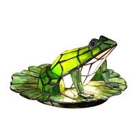 """7.5"""" Green Frog Lily Pad Tiffany-Style Accent Lamp"""