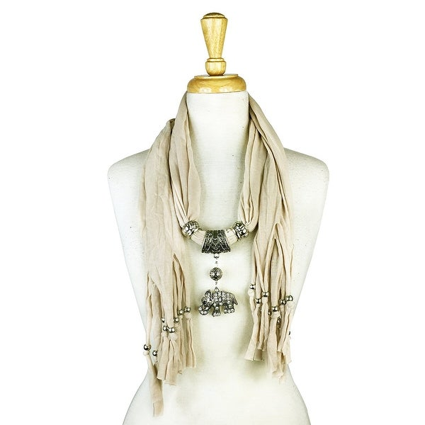 "Handmade Womens Charm Elephant Pendant Rhinestone Jewelry Scarf - Beige - 72"" long"