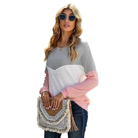 Cali Chic Women's Sweatshirt Celebrity Pink Chevron Waffle Color Block Pullover Sweatshirt
