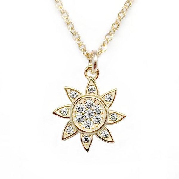 """Julieta Jewelry CZ Sun Gold Charm 16"""" Necklace"""