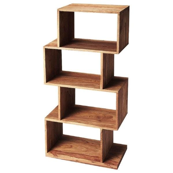 Modern Sheesham Wood Etagere in Loft Finish - Light Brown