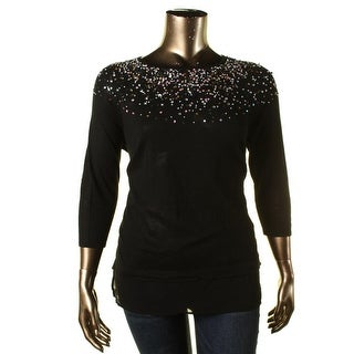 Design History Womens Embellished 3/4 Sleeves Pullover Sweater