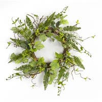 Pack of 2 Green Artificial Foliage Wreaths with Pods and Berries 20""