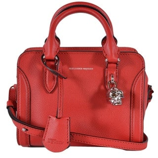 Alexander Mcqueen Red Calf Leather Mini Skull Padlock Convertible Purse Bag