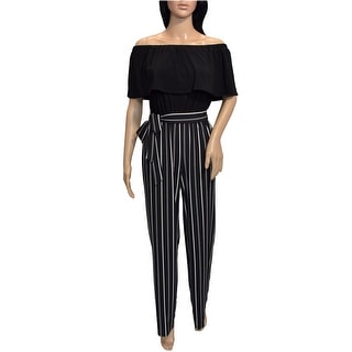 Link to Bebe Womens Black White Striped Off Shoulder Jupmsuit Similar Items in Outfits