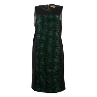 Ellen Tracy Women's Faux Leather Tweed Ponte Dress