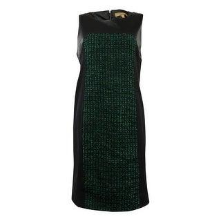 Ellen Tracy Women's Faux Leather Tweed Ponte Dress - tourmaline combo