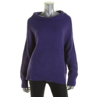 Eileen Fisher Womens Funnel-Neck Sweater Cashmere Blend Ribbed Trim