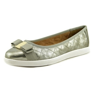 Soft Style by Hush Puppies Faeth Women  Round Toe Leather Silver Flats