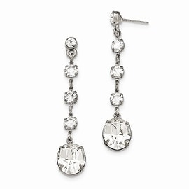 Silvertone White Crystal Simulated Pearl Leverback Earrings