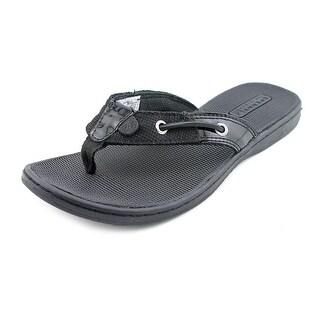 Sperry Top Sider Seafish Women Open Toe Patent Leather Black Flip Flop Sandal