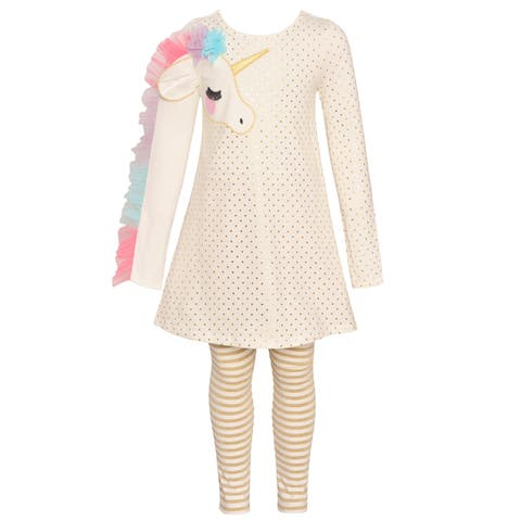 Bonnie Jean Little Girls Gold Unicorn Applique Stripe 2 Pc Legging Outfit