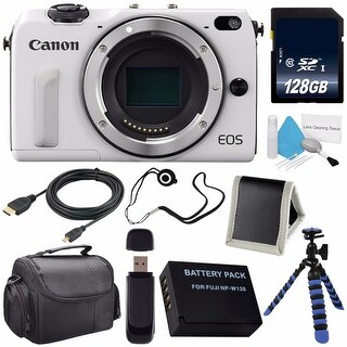 Canon EOS M3 Mark III 24.2 Mp Mirrorless Camera (International Model No Warranty) (White) + 128GB SDXC Memory Card Bundle