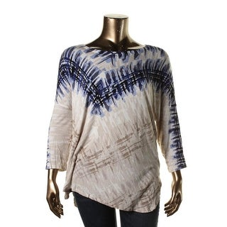 Nic + Zoe Womens Plus Knit Printed Pullover Top - 2X