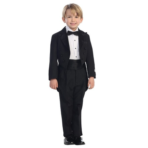 Little Boys Black Peak Collar Round Split Tail Elegant 5 Pc Tuxedo Suit