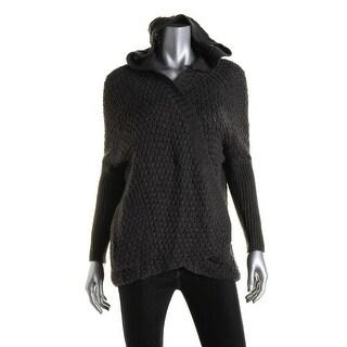 Aqua Womens Open Stitch Hooded Cardigan Sweater - M