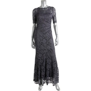 Xscape Womens Petites Mesh Glitter Evening Dress