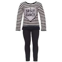 "Dreamstar Little Girls Black ""SRSLY Fancy"" Lace Trim 2 Pc Legging Set"