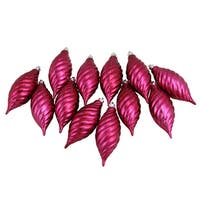 Club Pack of 12 Red Raspberry Shatterproof Finial Christmas Ornaments 4.75""