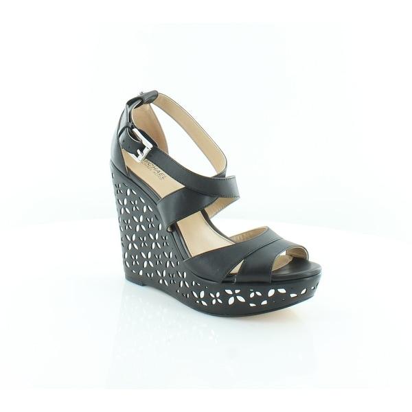 28ef80094df Michael Kors Sienna Wedge Sandal Women  x27 s Sandals Blk Silver - 5.5