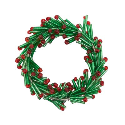 Beaded Napkin Rings With Wreath Design (Set of 4)