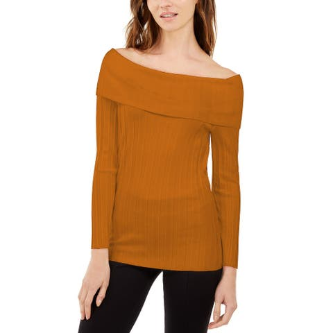 INC Women's Off-The-Shoulder Ribbed Sweater Med Yellow Size XL