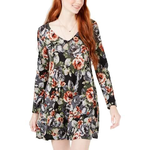 BCX Hacci Women's Junior Floral Print V-Neck Lace-Up Long Sleeve Mini Dress