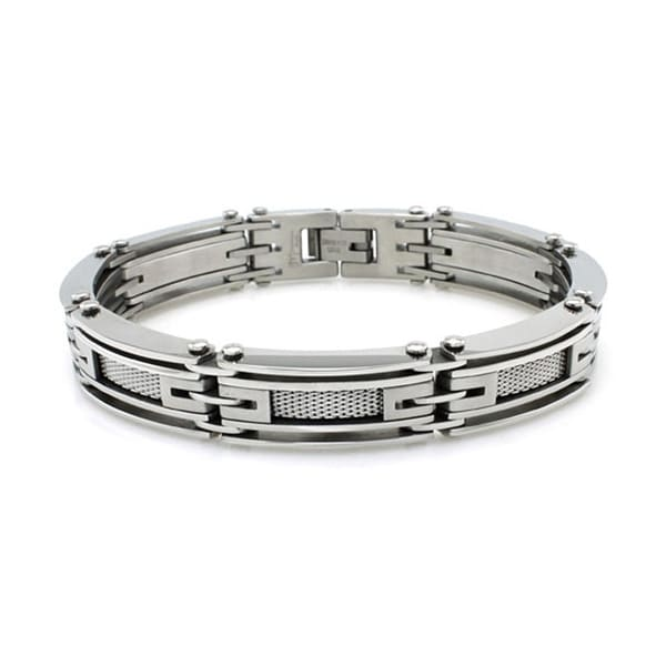 Stainless Steel High Polish/Satin Finish Link Bracelet w/ Mesh Inlay - 8.25 inches
