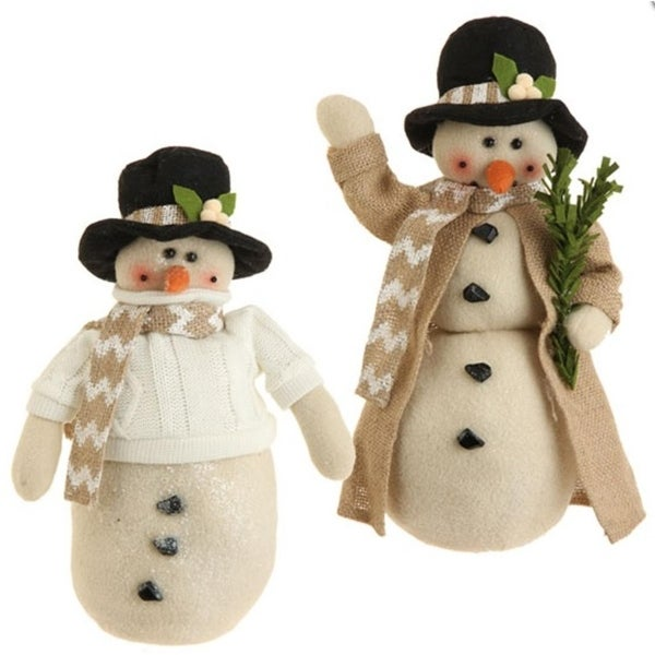 """13"""" Snowy Time Tan Snowman with Black Hat Christmas Table Top Decoration"""