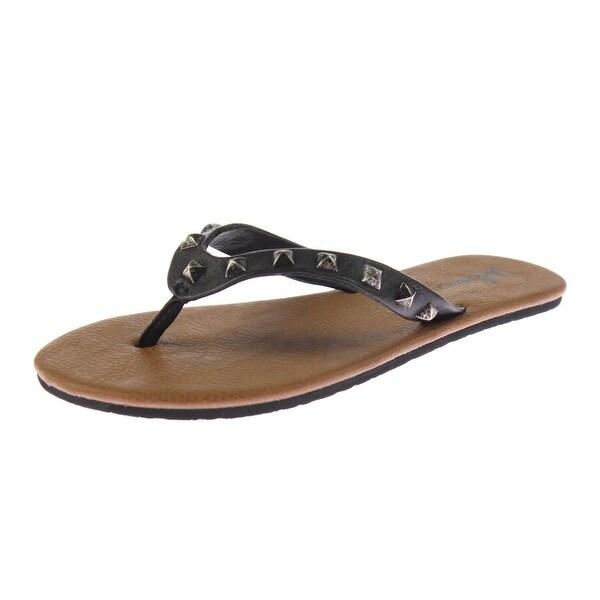 Volcom Womens Pretty Legit Flip-Flops Faux Leather Studded - 5 medium (b,m)