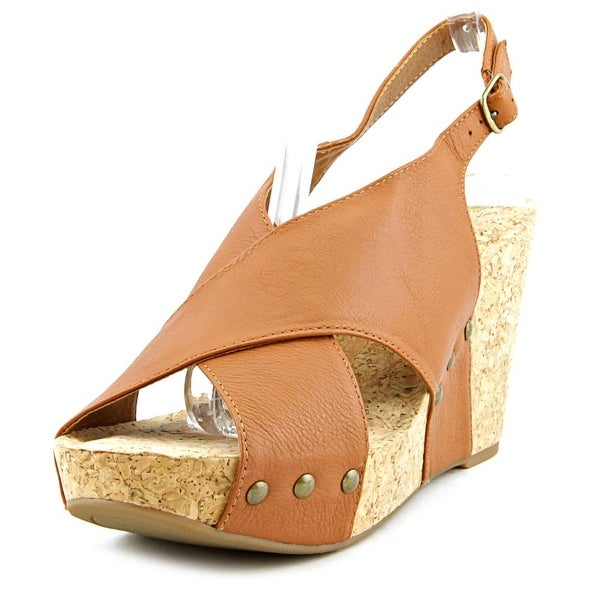 Lucky Brand Minari Women Open Toe Leather Tan Wedge Sandal
