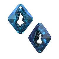 Swarovski Crystal, 6926 Growing Crystal Rhombus Pendant 36mm, 1 Piece, Crystal Bermuda Blue