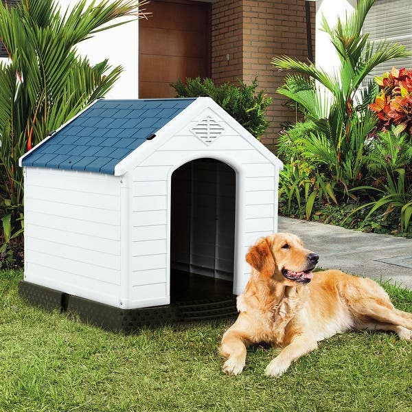 Gymax Plastic Dog House Pet Puppy Shelter Waterproof Indoor Outdoor Ventilate Blue On Sale Overstock 22854053