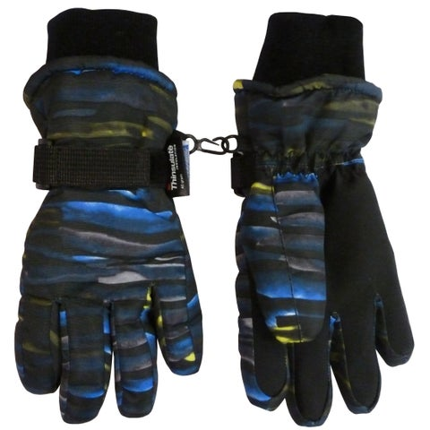 NICE CAPS Kids Neon Laser Striped Waterproof Thinsulate Ski Gloves