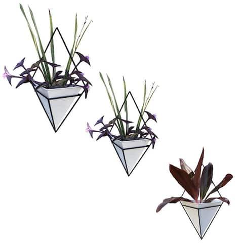 White diamond wall planter, Set of 3