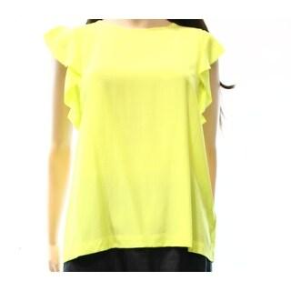 Kate Spade NEW Yellow Green Women's Size 8 Ruffled Sleeve Blouse Silk