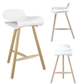 "2xhome White 26.5"" Modern Style Tri-Leg Backless Barstool With Natural Wood Legs"