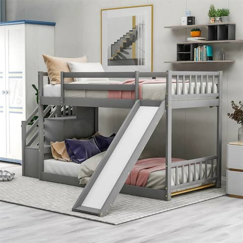 Merax Twin Over Twin Bunk Bed with Convertible Slide and Stairway