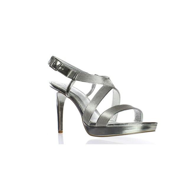 Details about Caparros Womens Future Silver Metallic Mesh Peep Toe Heels Size 10