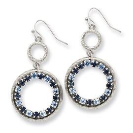 Silvertone Pink Glass Dangle Shepherds Hook Earrings