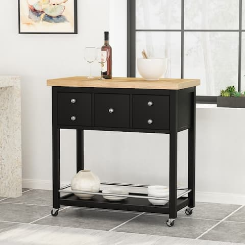 Warnock Indoor Storage Kitchen Cart with Wheels by Christopher Knight Home