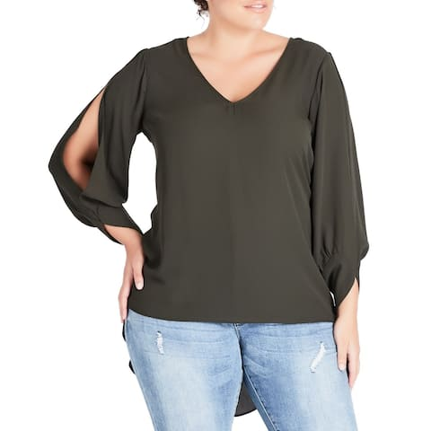 City Chic Women's Blouse Green Size 16W Plus V-Neck Cutout High-Low