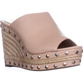 Charles by Charles David Lisbon Studded Mule Wedge Pumps, Nude
