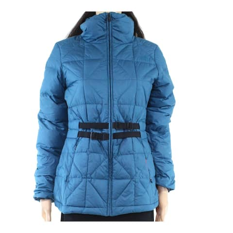 The North Face Women Belted Mera Peak Jacket Teal Blue Medium M Quilted